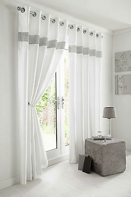 Eyelet Diamante Lined White Curtains Faux Silk Kimberley