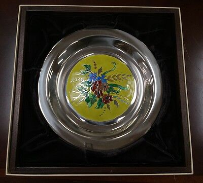 1975 FRANKLIN MINT STERLING SILVER CHAMPLEVE PLATE ~ FOUR SEASONS SET of FOUR