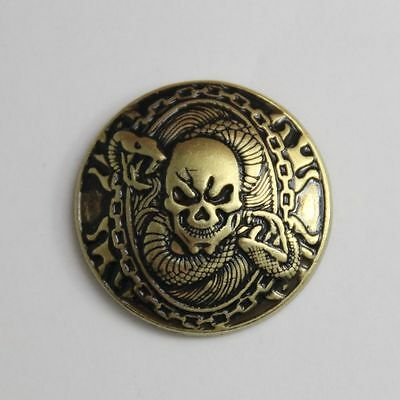Fortune cover button 1-1/8'' Western Skull Concho Saddle Tack Belt Antique Brass