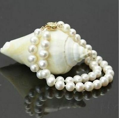 2016 New 2 Row 9-10 Mm Natural White South Sea Pearl Bracelet 14K