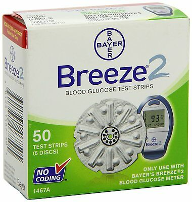 Bayer Breeze 2 Blood Glucose 50 Test Strips  EXP: JULY 2017