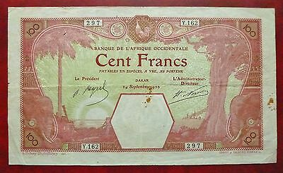 Banque Afrique Occidentale - 100 Francs - 24 septembre 1926 - Dakar