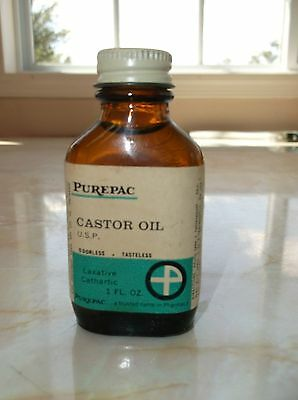 Vintage Purepac Castor Oil Full Bottle 1 oz Laxative