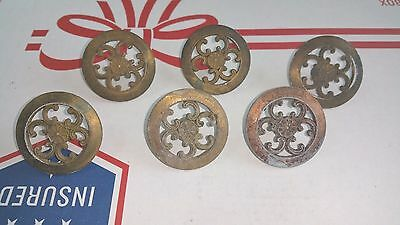 "6 Ornate Antique Vintage Cast Brass Dresser Cabinet Knobs 1.5"" diameter"