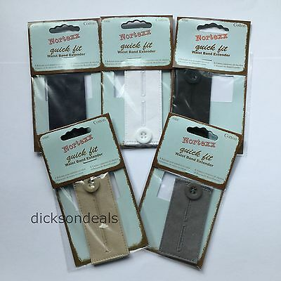 Waistband Extender Expander For Button Trousers or Skirts No Sew choose colour