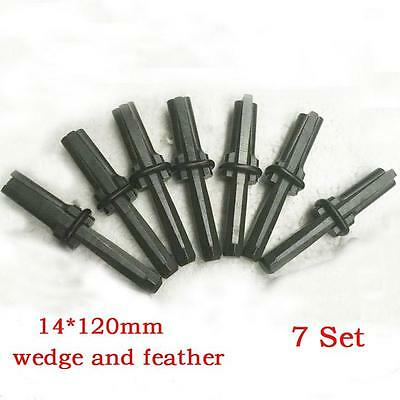 7 set Plugs and Feathers Stone splitter tool Boulder Breaker 14x120mm #