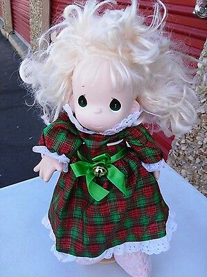 Precious Moments Vinyl Head Soft Body Doll Blonde Holiday NEEDS TLC