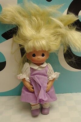 "Precious Moments Vinyl Body Doll Blonde 12"" Wild Hair"