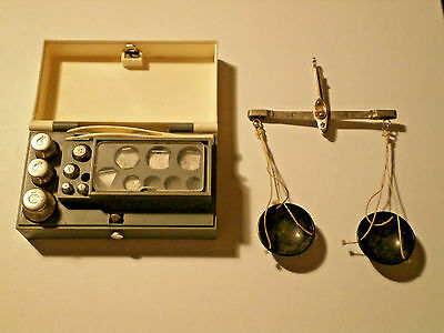 Vintage Soviet Hanging Balance Scale with Original Box and Weights USSR Antique