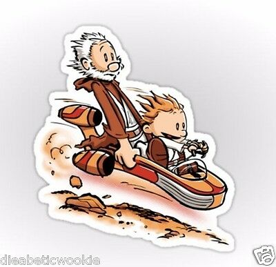 Calvin and Hobbes Star Wars Obi-Wan Luke jedi Sticker decal car laptop scrapbook