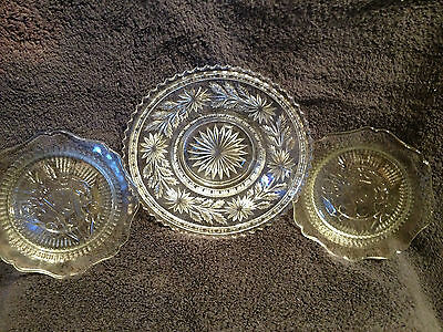 3 Vintage Jeanette Glass Co Clear Glass. Floral Plates
