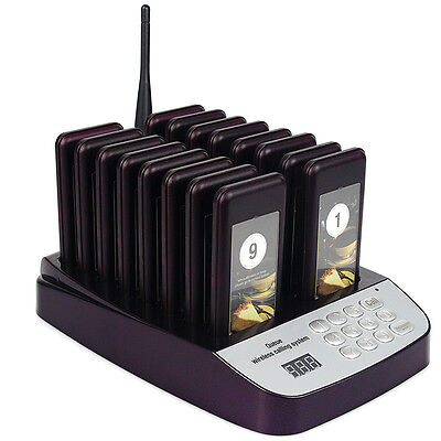 Hot 999CH 16Restaurant Coaster Pager Guest Call Wireless Paging Queuing System