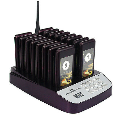 Restaurant Wireless Paging Queuing System 16pcs Call Coaster Pagers 999 Channel