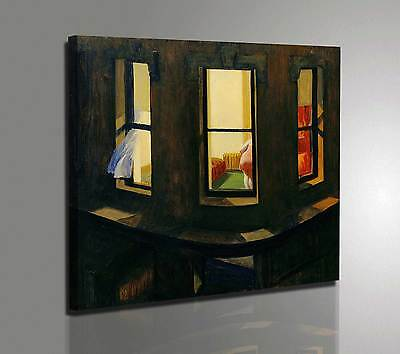 Quadro con Vernice Pennellate Edward Hopper Night Windows Stampa su Tela Canvas