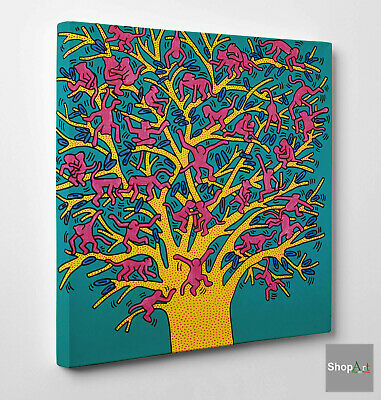 Quadro Haring The Tree of Monkey Stampa su Tela Vernice Pennello effetto Dipinto