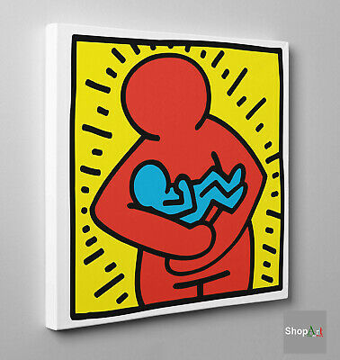 Keith Haring Maternità Stampa su tela Canvas effetto Quadro Idea Regalo