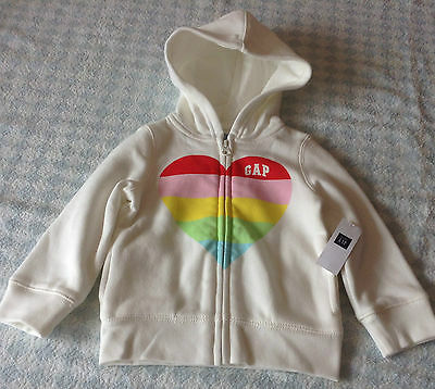 girls genuine gap logo zipper hoodie jacket cream heart logo 3,4,5 years new tag