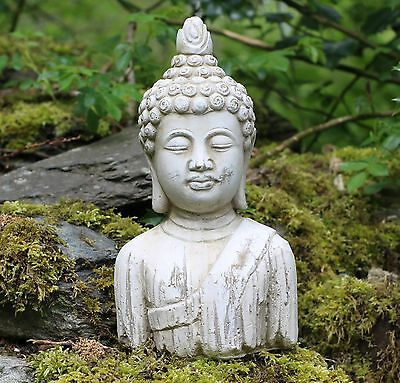 Buddha bust Stone Drift Wood Effect Garden Outdoor Indoor Statue Ornament