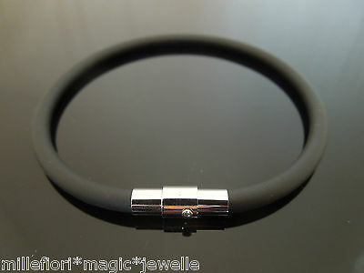 4mm Black Rubber Wristband Bracelet With Stainless Steel Magnetic Twist Clasp
