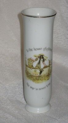 Holly Hobbie Porcelain tall vase To the house of a friend the way is never long