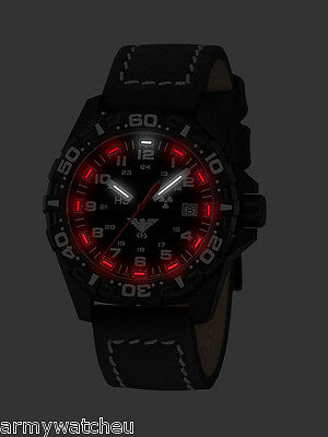 KHS Tactical Watches Reaper Red H3  Military Watch Gent's Date Buffalo Leather