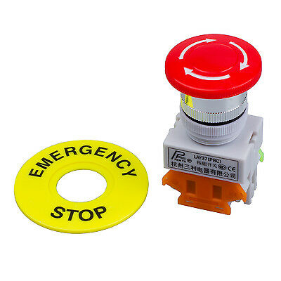 Red Mushroom Cap 1NO 1NC DPST Emergency Stop Push Button Switch AC 660V 10A DM