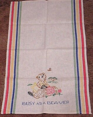 Vintage Kitchen Striped Towel Embroidered Busy Beaver Ironing