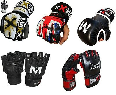 New Leather Gel Tech MMA Grappling Gloves Fight Boxing Punch Bag Boxing Mma