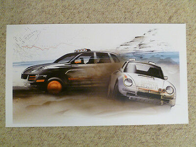 2008 Porsche Cayenne S & 959 Showroom Advertising Poster RARE!! Awesome