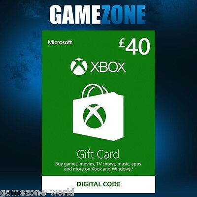Xbox Live £40 GBP UK Gift Card Points Pounds For Microsoft Xbox 360 / Xbox One