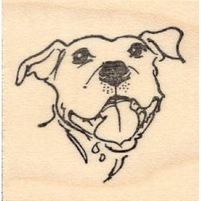 Happy Pit Bull Rubber Stamp - (RH19205) FREE SHIPPING