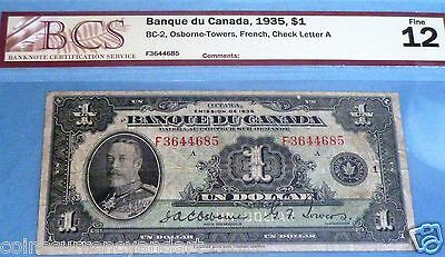 Bank of  Canada  FRENCH BANQUE DU CANADA 1935 $1 Banknote