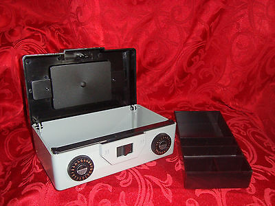 Compact Dual Combination CASH BOX  8 x 4 Plastic w/removable Coin Tray