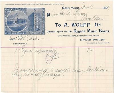 Illustrated Billhead - A.Wolff -  Regent Music Boxes - New York, NY - 1897