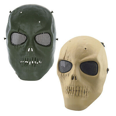 Army Skull Skeleton Airsoft Full Face Game Protect Safe Mask (Green)
