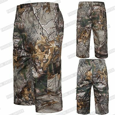 Mens 3/4 Shorts Elasticated Jungle Print Cargo Combat Camouflage Trousers Pants