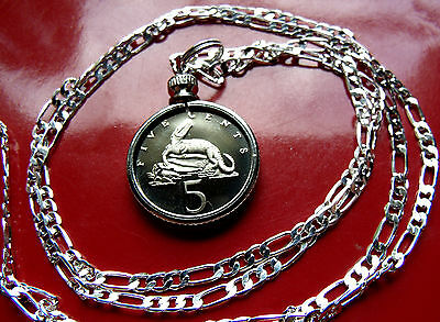 "JAMAICAN Snapping CROCODILE  Proof Pendant on a 22"" 925 Sterling Silver Chain."