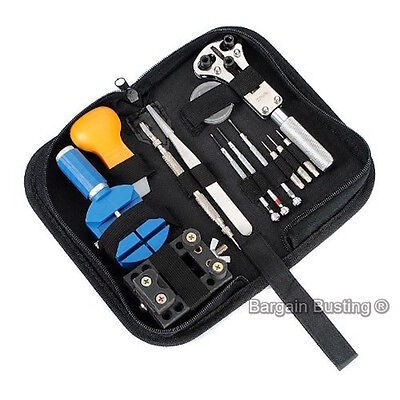 13pcs Watchmaker Watch Repair Tool Kit Back Case Opener Remover Spring Pin Set