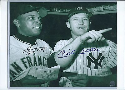 Mickey Mantle Willie Mays Signed 8x10 Photo Autographed COA Yankees Giants HOF