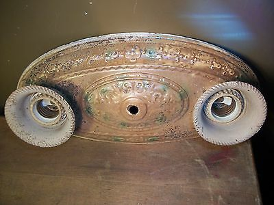 ANTIQUE Art Deco Floral CEILING LIGHT Fixture POLYCHROME Flush Chandelier 1930S