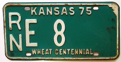 Kansas 1975 RENO COUNTY WHEAT CENTENNIAL License Plate GOOD NUMBER # RN E 8