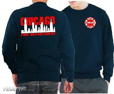 Sweatshirt navy, Chicago Fire Dept. mit zweifarbiger Skyline