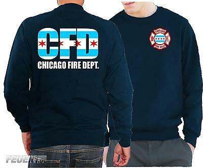 Sweatshirt navy, Chicago Fire Dept./City flag, dreifarbig