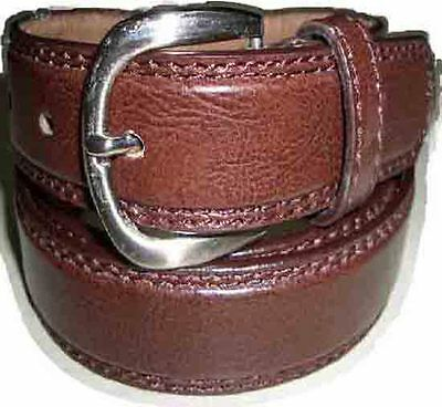 "8212 A Boys Plain Brown Double Stitched Leather Belt In Sizes 18"" To 30"" Waist"