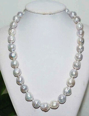 "baroque 18"" AAA 12-11 MM SOUTH SEA NATURAL White PEARL NECKLACE 14K GOLD  CLASP"
