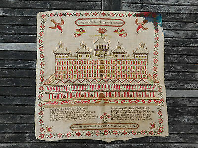 Antique Georgian Double Sided Sampler King Solomons Temple Hannah Hopwood 1825