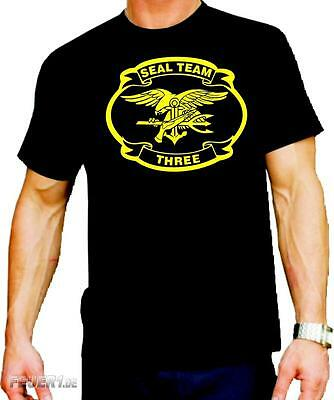 T-Shirt black, NAVY SEAL TEAM THREE, gelb