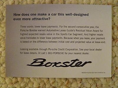 2000 Porsche Boxster & Boxster S Showroom Advertising Sales Sheet RARE!! Awesome