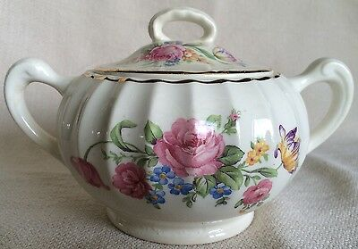 W.S. George Bolero lidded sugar bowl Floral Design Pink Flowers 22 Carat Gold