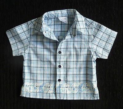 Baby clothes BOY 3-6m Ladybird blue,navy blue,white short sleeve check shirt